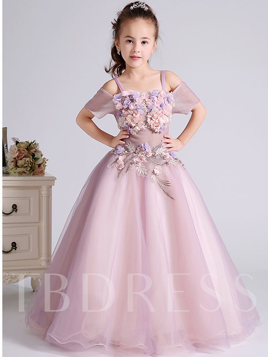 3D Flowers Off Shoulder Spaghetti Straps Flower Girl Dress