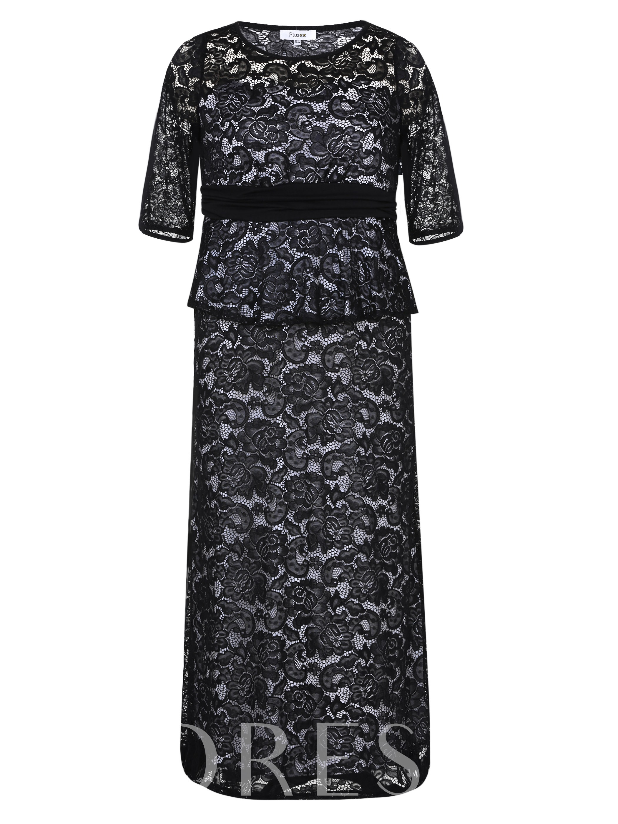 Buy Half Sleeve Double-Layered Women's Lace Dress, Plusee, Fall, 12702550 for $26.99 in TBDress store