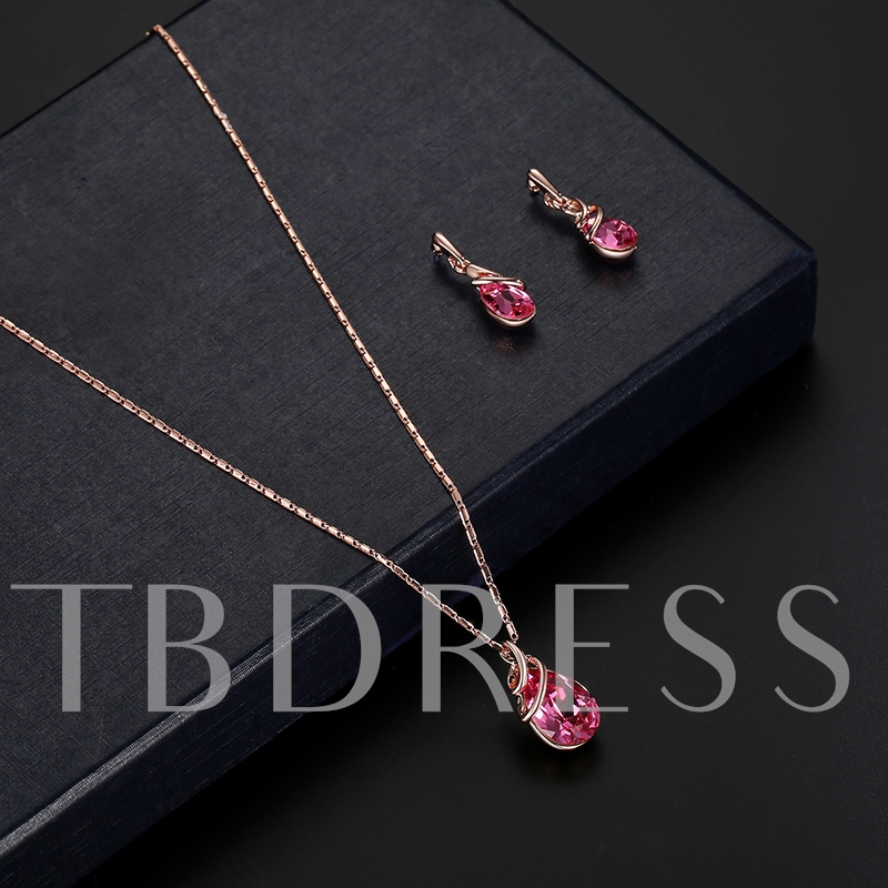 Water Drop Zircon Bamboo Chain Alloy Jewelry Sets