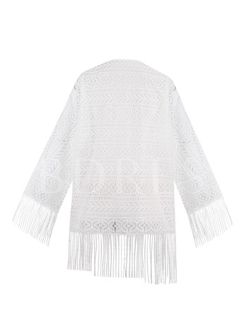 Wrapped Tassel Hollow Lace Women's Blouse