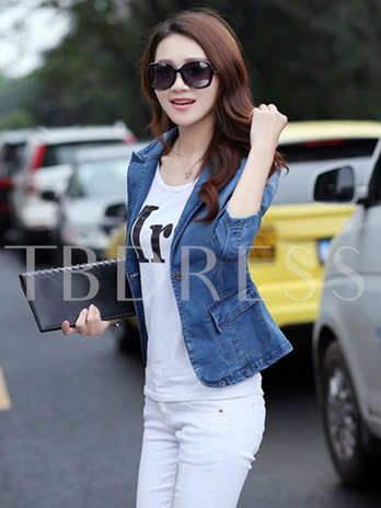 Blue Lapel Slim Women's Blazer