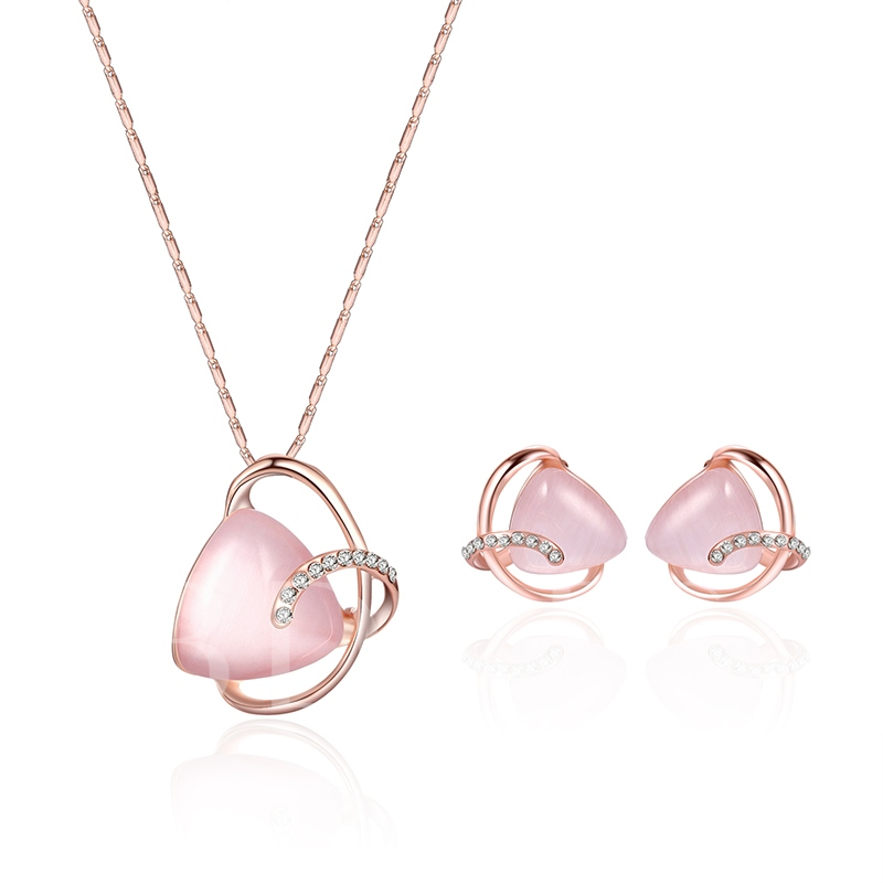 Pink Trangle Stone Pendant Alloy Jewelry Sets