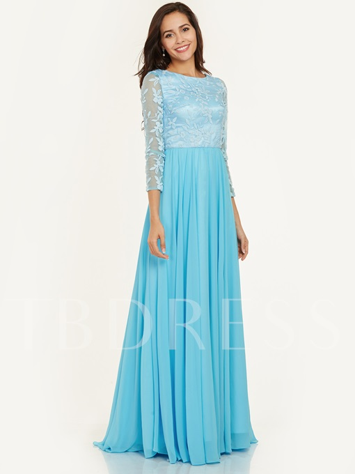 Scoop Neck Lace A Line Floor-Length Evening Dress