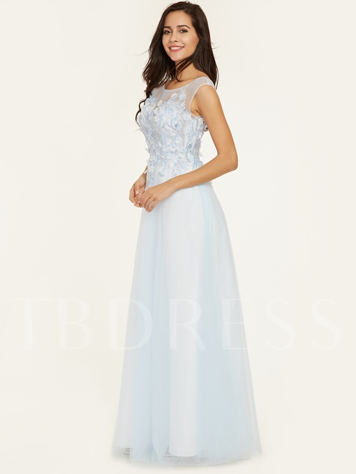 Scoop Neck Flower Appliques A Line Evening Dress