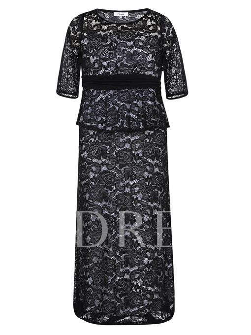 Half Sleeve Double-Layered Women's Lace Dress