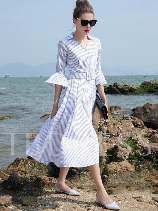 Lace-Up Bell Sleeve Stripe Women's Maxi Dress
