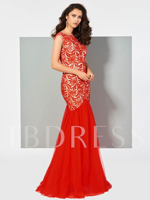 Bateau Lace Backless Sleeveless Mermaid Floor-Length Evening Dress