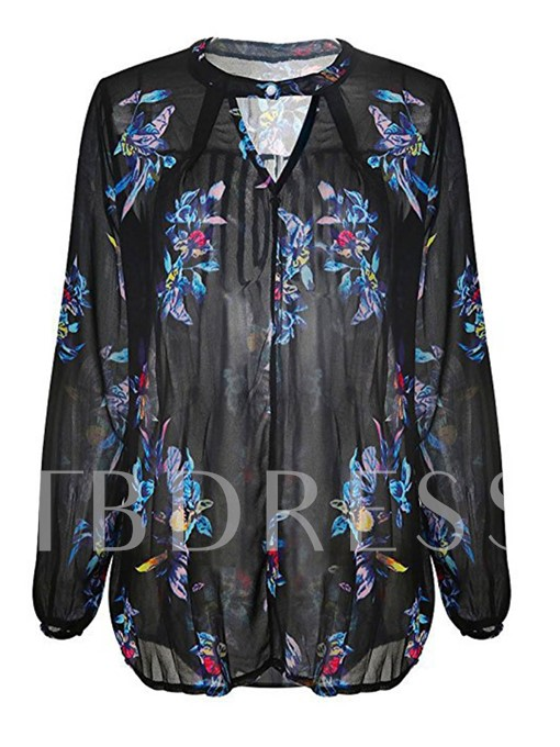 Loose Mesh Floral Print Hollow Women's Blouse