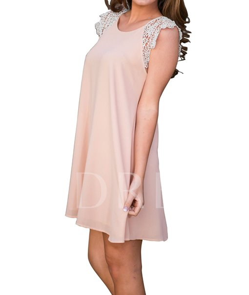 Pink Lace Patchwork Women's Day Dress