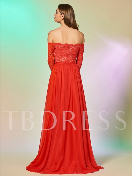 A-Line Half Sleeves Lace Off-the-Shoulder Floor-Length Prom Dress