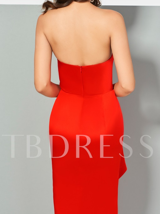 Column Strapless Split-Front Sleeveless Asymmetry Evening Dress