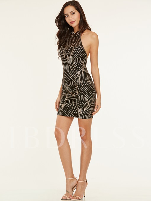Halter Neck Backless Sequins Short Cocktail Dress