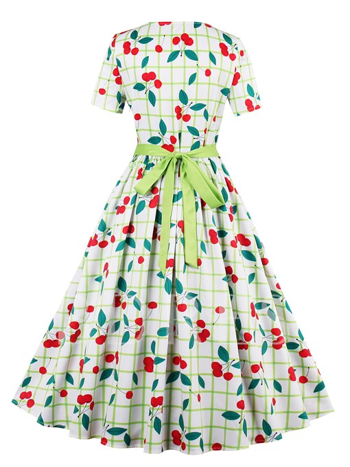 Short Sleeve Lace up Cherry Printed Women's Maxi Dress