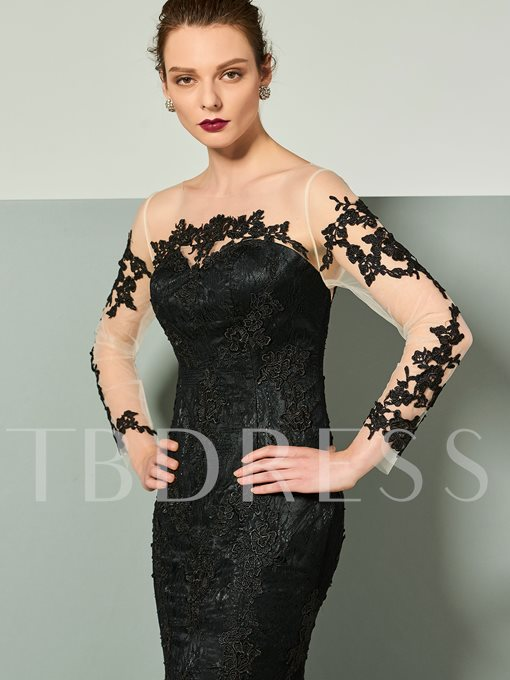Bateau Button Lace Mermaid Long Sleeves Court Train Evening Dress