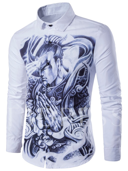 Long Sleeve Digital Print Casual Men's Shirt