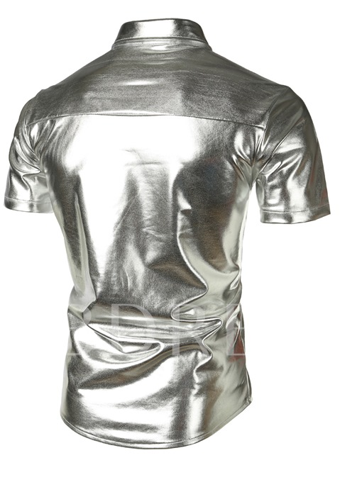 Shiny Short Sleeve Slim Fit Men's Shirt