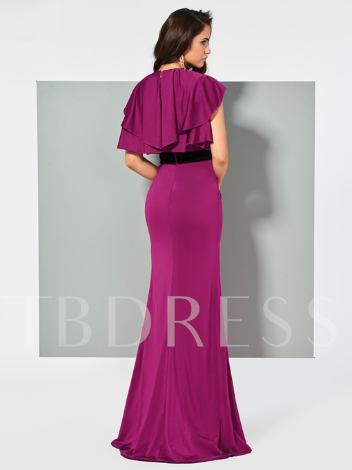 Trumpet Short Sleeves Bowknot Ruffles Sashes Scoop FLoor-Length Evening Dress