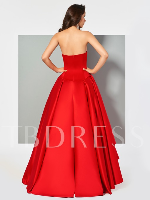 Sweetheart Pleats Sleeveless Ball Gown Asymmetry Evening Dress