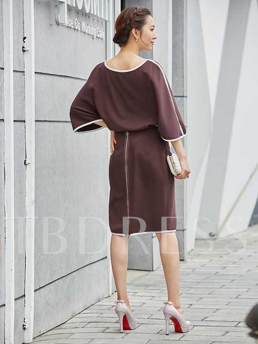 Brown Double-Layered Zippered Women's Sheath Dress