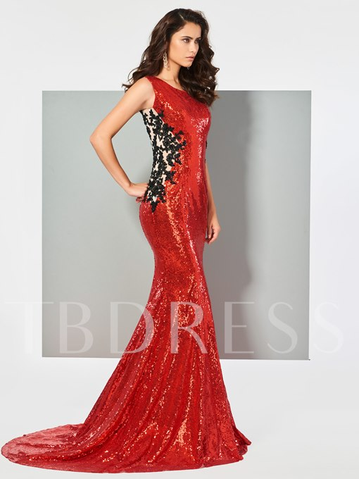 Scoop Button Sequins Mermaid Floor-Length Evening Dress