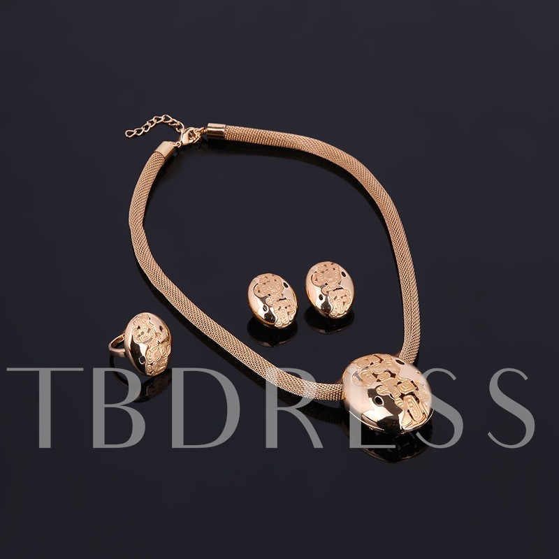 Elegant Snake Chain Carving Design Alloy Jewelry Sets