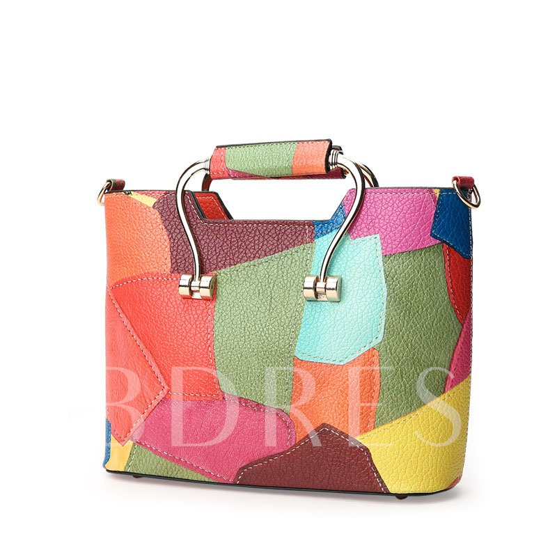 Elegant Trendy Color Block PU Women Tote Bag