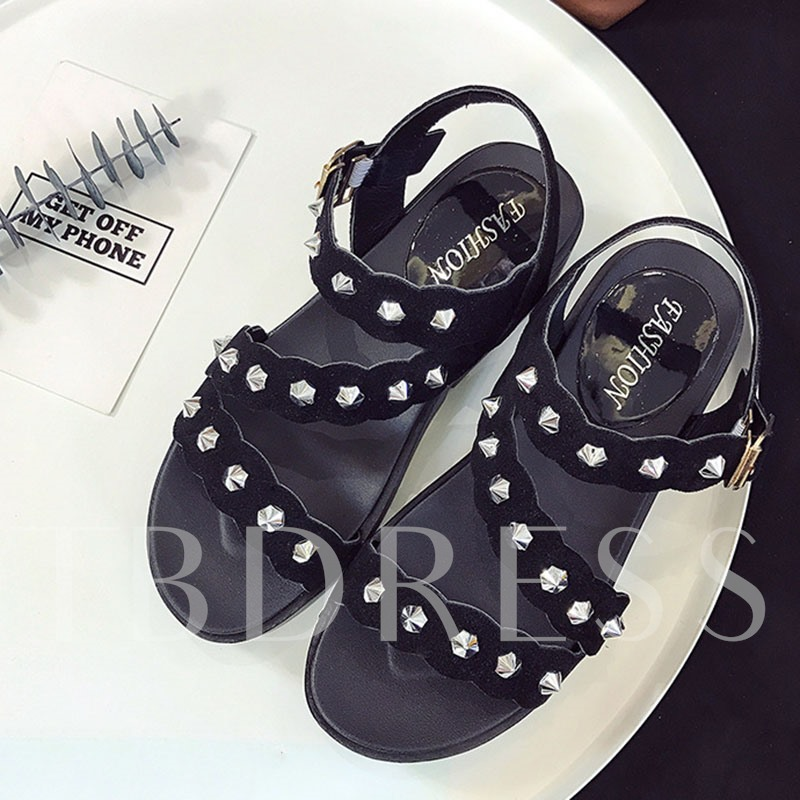 Rivets Open Toe Platform Women's Sandals