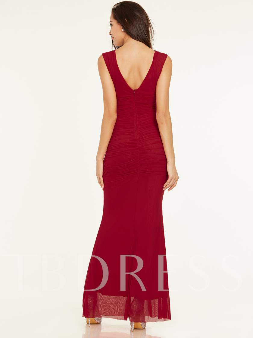 V Neck Zipper-Up Beaded Pleats Sheath Evening Dress