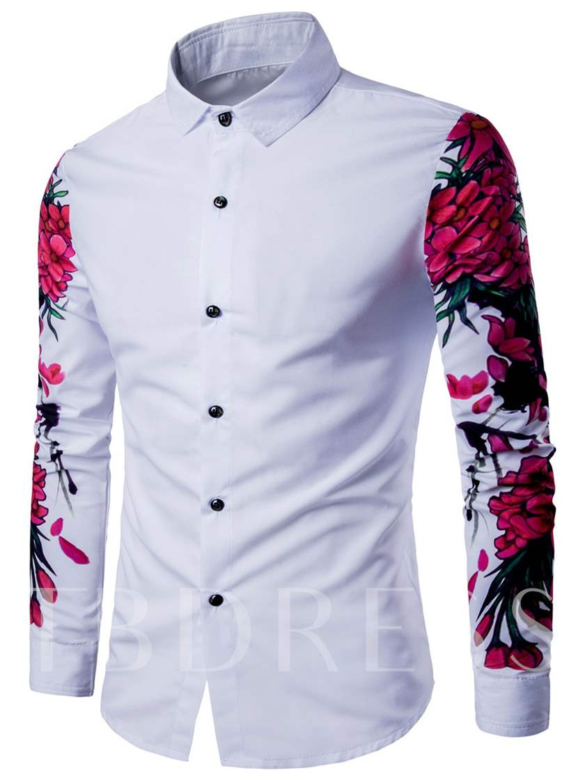 Lapel Floral Print Leisure Men's Dress Shirt