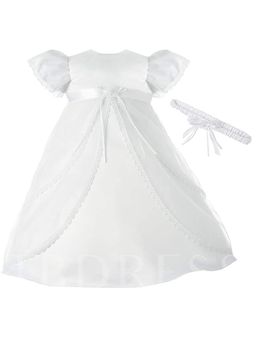 Cap Sleeves Baby Girl Christening Gown with Headband