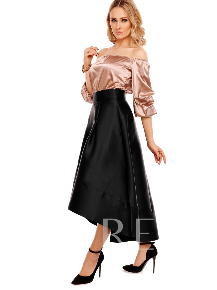 Irregular Plain Pleated Patchwork Women's Skirt