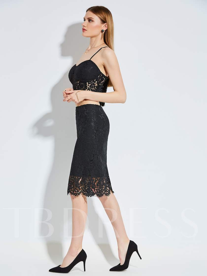 Plain Lace Hollow Sleeveless Backless Women's Two Piece Dress
