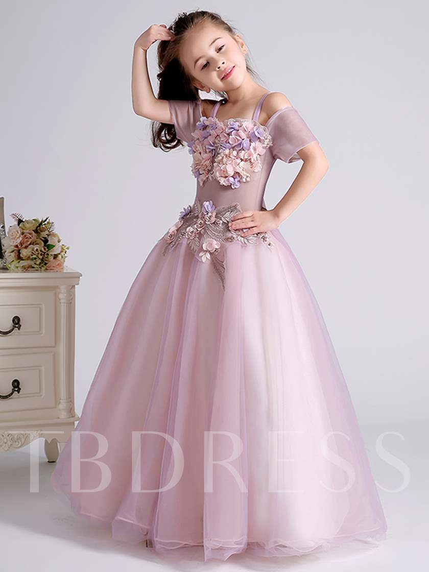cc1a2d42497 3D Flowers Off the Shoulder Spaghetti Straps Flower Girl Dress. Sold Out