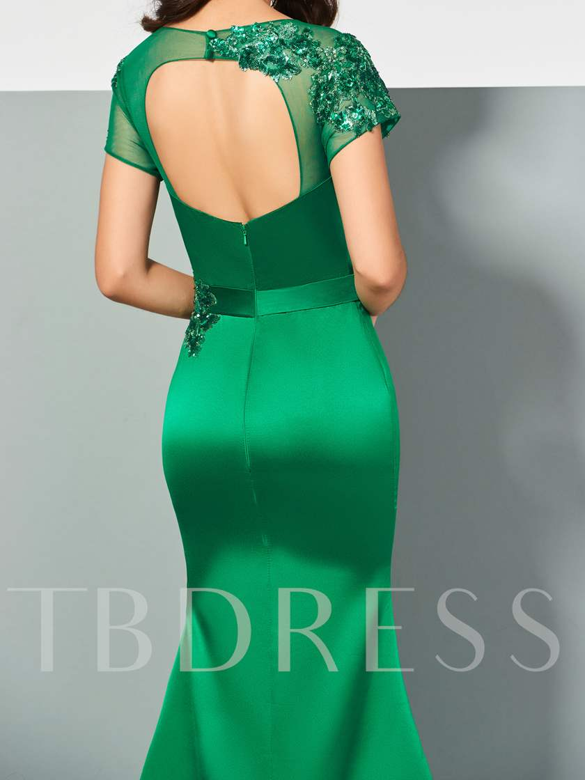 Scoop Appliques Pleats Trumpet Evening Dress