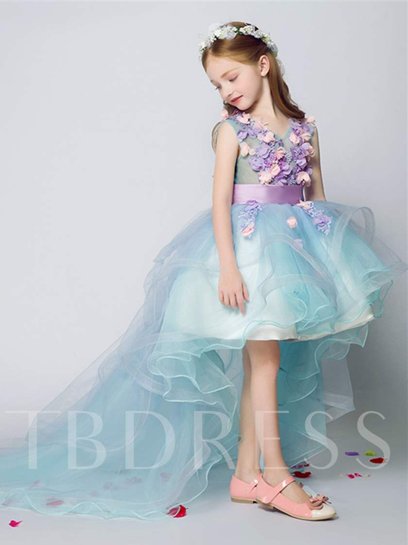 3D Flowers High Low Flower Girl Dress with Train