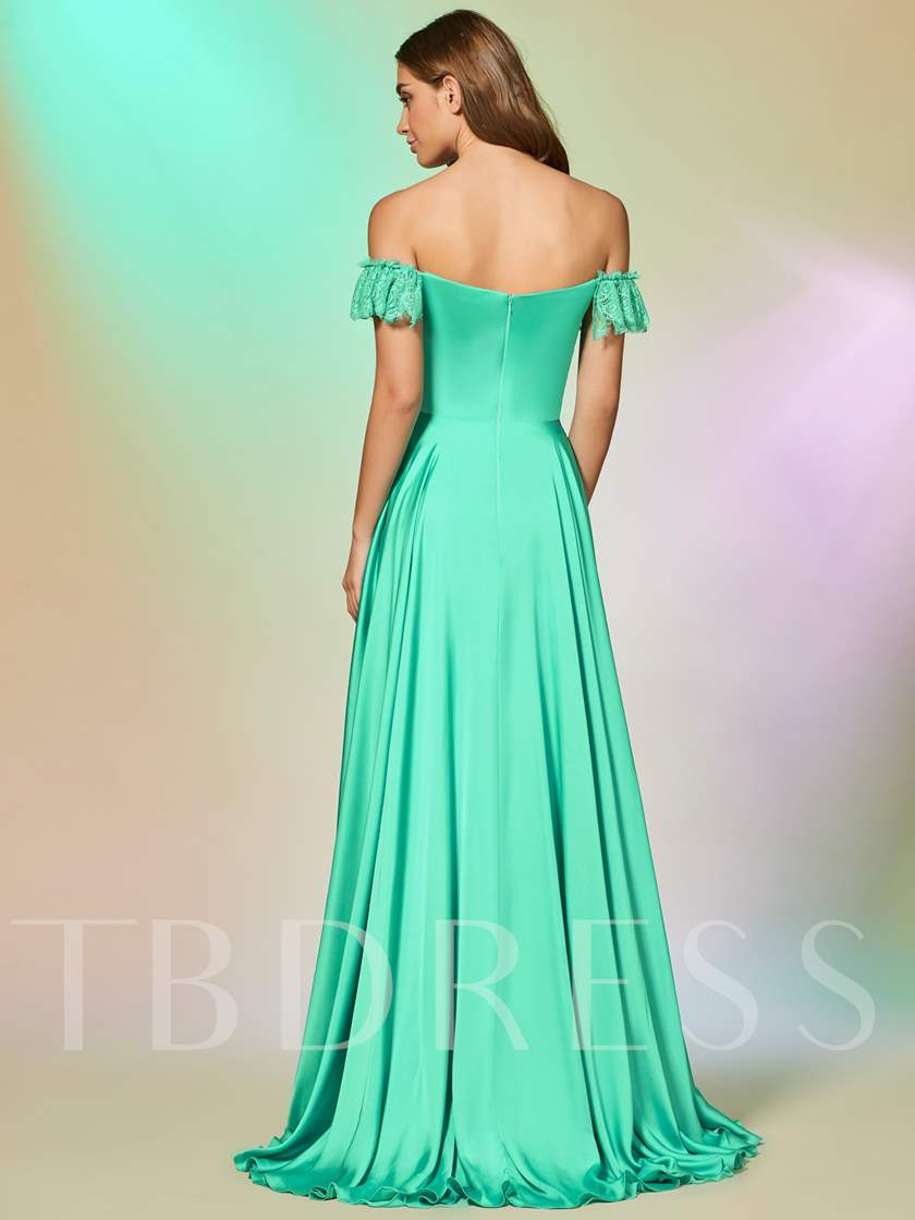 A-Line Short Sleevels Lace Off-the-Shoulder Floor-Length Prom Dress