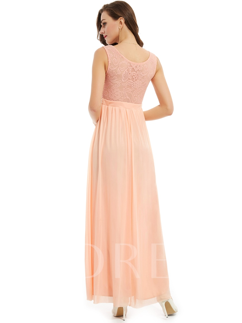 Beaded Scoop Neck Lace A Line Evening Dress