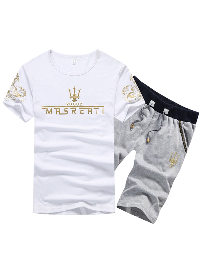 Cotton Breathable Print Plain T-Shirt Summer Knee Length Pants Short Sleeves Men's Outfit