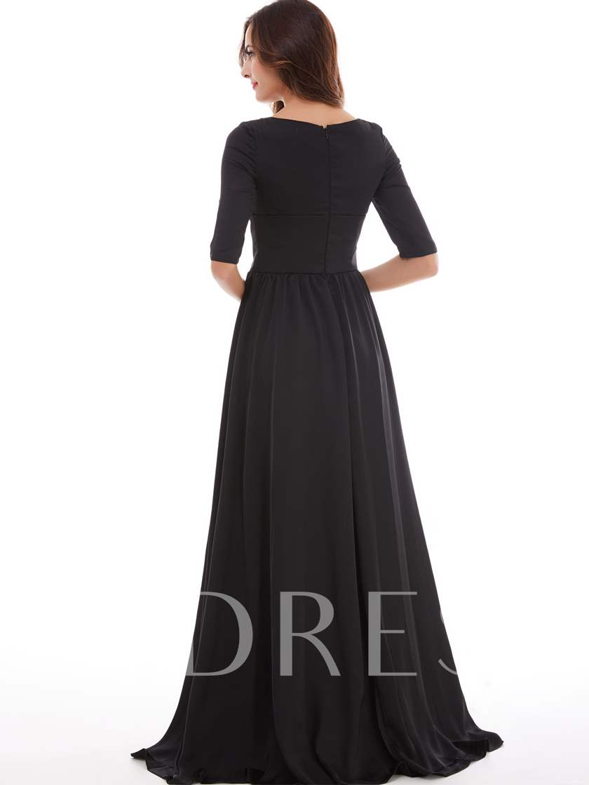 Square Neck Half Sleeves A Line Evening Dress