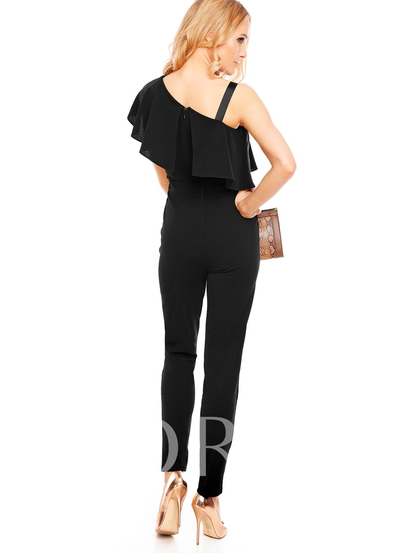 Irregular Falbala Backless Slim Plain Women's Jumpsuit