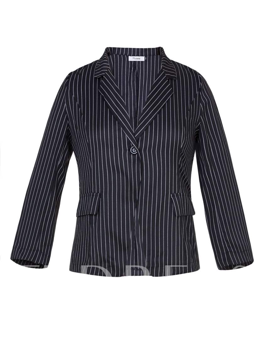 Stripe One Button Plus Size Lapel Women's Blazer