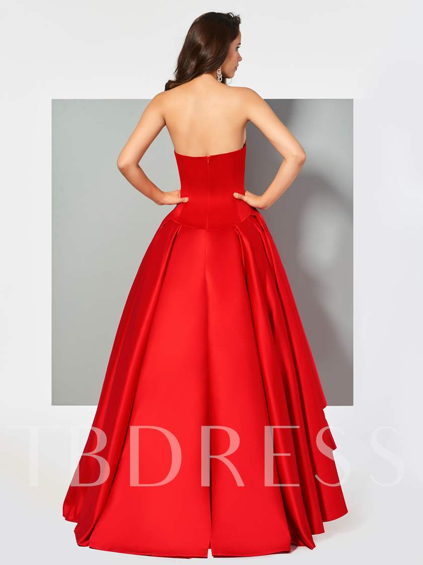 Sweetheart Pleats Ball Gown Asymmetry Evening Dress