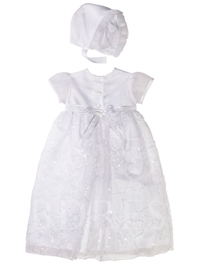 Appliques Sequins Bonnet Infant Baby Girls Christening Gown