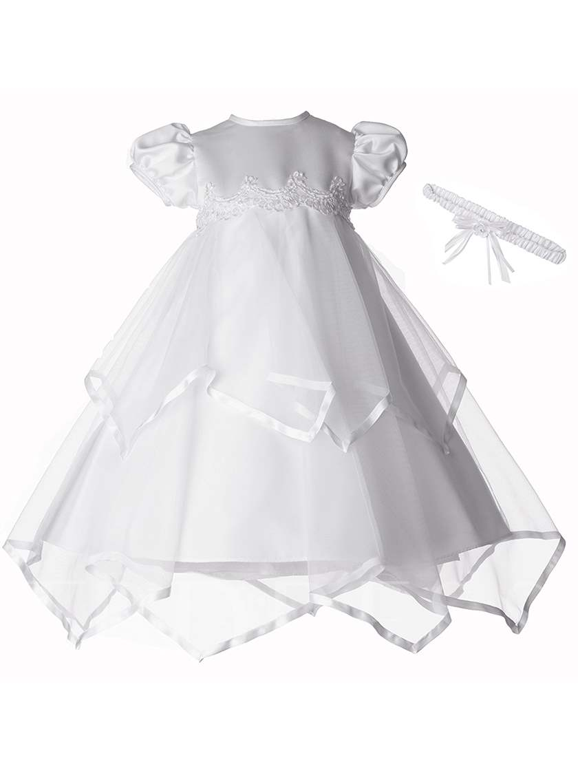Tulle Short Sleeves Christening Gowns with Headpiece