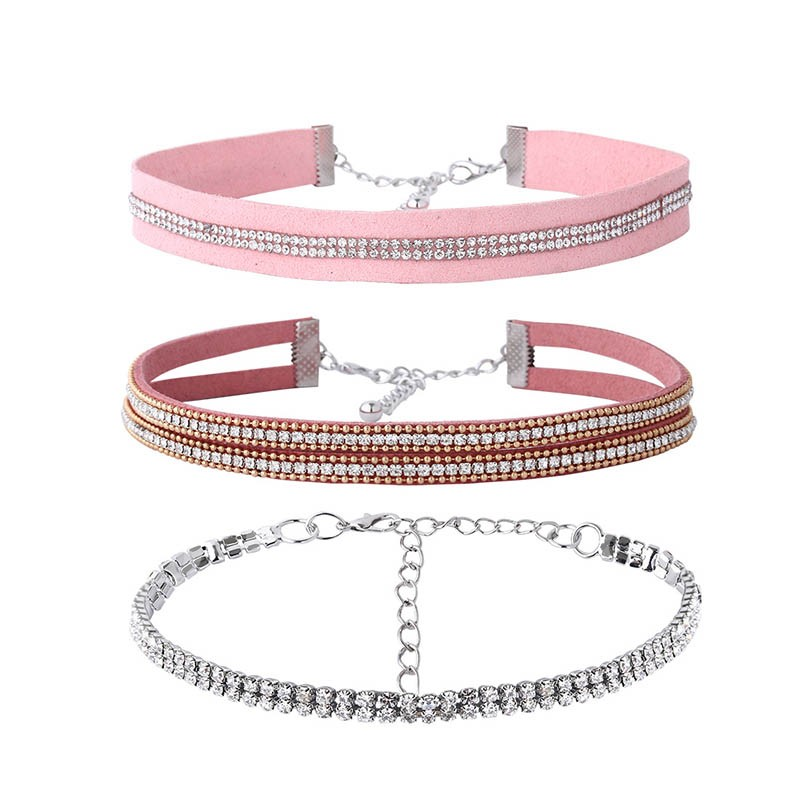 Full Drill Rhinestone Pink Velet Rope Torques Choker Necklace