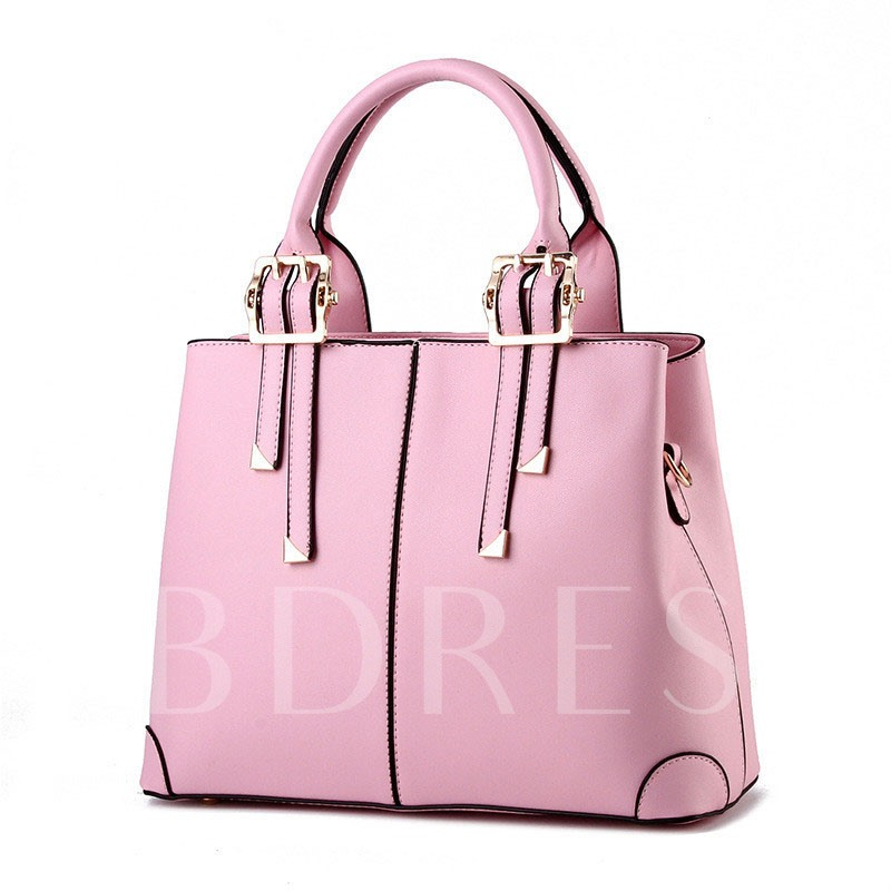 Concise Solid Color PU Women Tote Bag