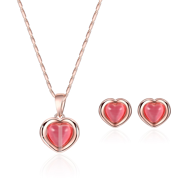 Heart Shaped Rhinestone Alloy Pendant Jewelry Sets