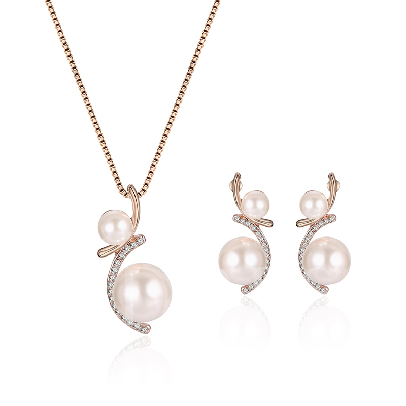 Round Pearl Alloy Diamante Irregular Jewelry Sets