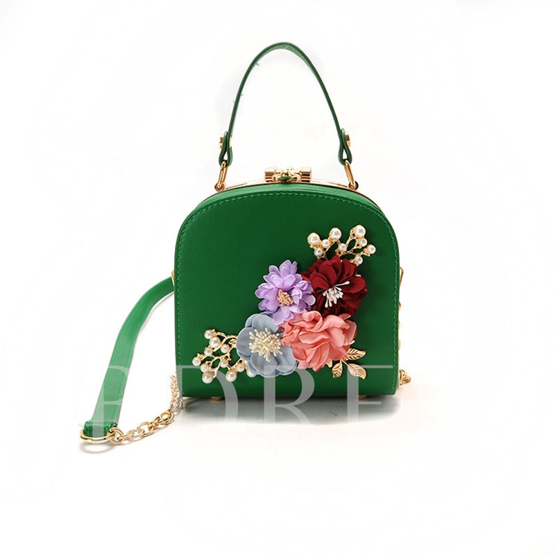 Mini Style Rhinestone Flower Adornment Tote Bag