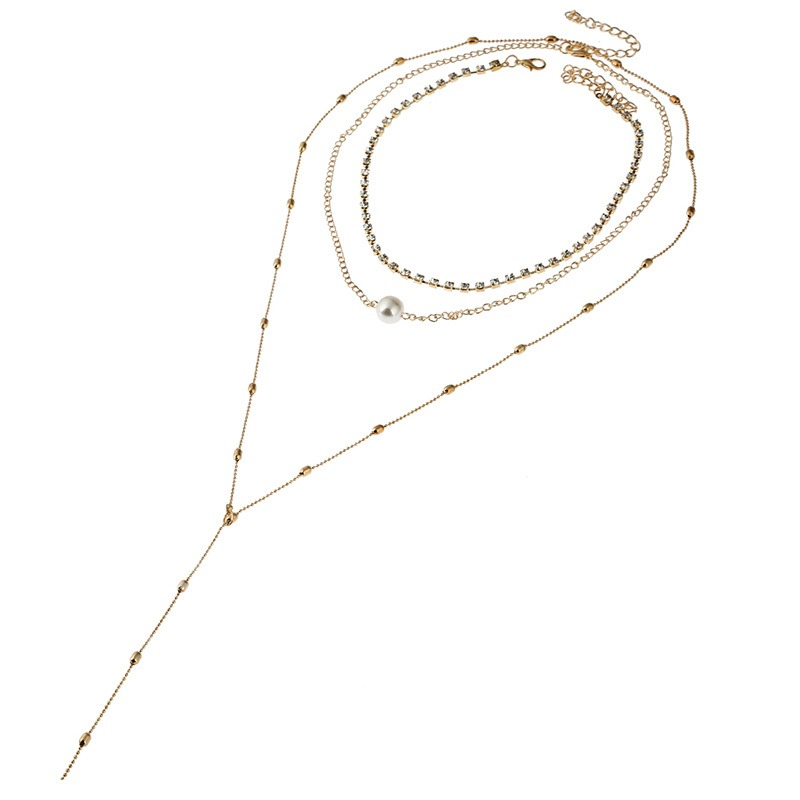 Simple Pearl Body Chain Multilayer Necklace